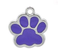 20PCs Purple Enamel Dog's Paw Charm Pendants 17x16mm Fashion