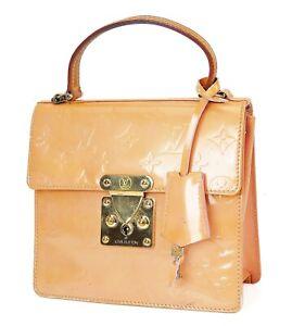 Auth LOUIS VUITTON Spring Street Baby Pink (Orange) Vernis Tote Bag Purse #37742