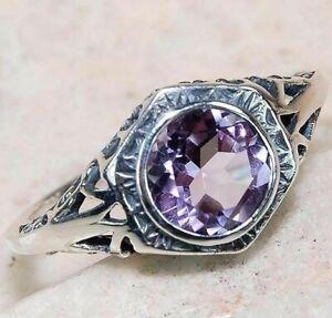 1CT Amethyst 925 Sterling Silver Filigree Ring Jewelry Sz 6, FG3-7