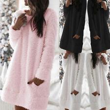 UK Winter Fluffy Fleece Fur Jumper Womens Pyjama PJ Dress Teddy Bear Lounge Wear