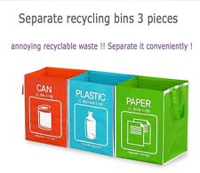 Recycle Waste Bags Separate Recycle Bin Baskets Waterproof Container Bag 3 Set