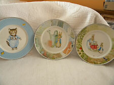 Beatrice Potter-Golden Rabbit Metal Plates-Set of 3/2 Excellent/1Has Small Area