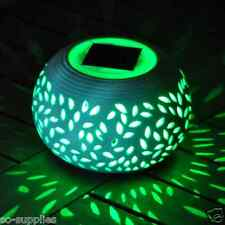 CERAMIC COLOUR CHANGING LED SOLAR POWER POWERED TABLE LIGHT GARDEN OUTDOOR LAMP
