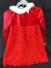 Infant Holiday Edition Red Velveteen Dress White Faux Fur w/Panties 18 Month
