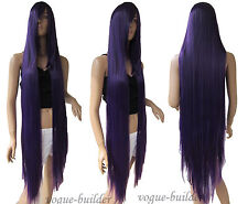 51 inch Extra Long Heat-resistant Dark Purple Straight Cosplay Wig Free Shipping