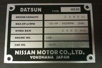 Datsun 240Z L24 or L28 chassis plate ID tag blank