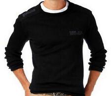 Hombres Manga Larga Jersey De Punto Fino negro liso Cuello redondo