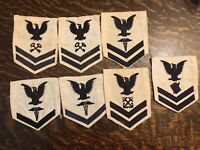 Lot Of 7 WWII and post War US Navy White Rank Patches Ratings