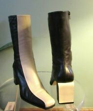 MICHEL PERRY SOFT LUX LEATHER BROWN / BEIGE RETRO DISCO 80'S BOOTS 36.5  ITALY