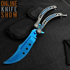 CSGO BLUE STEEL FADE Practice Knife Balisong Butterfly Tactical Combat Trainer