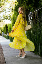 TOPSHOP yellow floral flower print frill DRESS size 12 14 maxi romantic wedding
