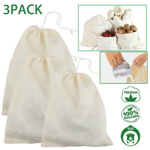 3 x Organic Cotton Nut Milk Bag Food Strainer Brew Coffee Cheese Cloth