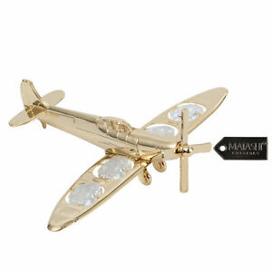 Matashi 24K Gold Plated Propeller Airplane Ornament With Crystals Christmas Gift