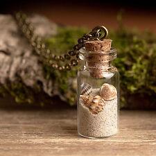 Beach sand and sea shells handmade necklace, nature beach glass vial pendant