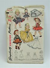 """Vtg Uncut 1951 Simplicity 16"""" Doll Clothes Pattern # 3729 Evening Dress Cowgirl"""
