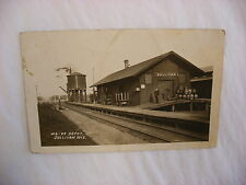 Real Photo Postcard RPPC Railroad Depot Sullivan Wisconsin WI 1910 #1270