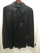 Prada mens black leather western shirt. size 52