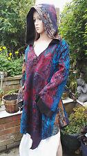 FAIRTRADE Bohemian Woven Floral Hooded Pixie Fae Coat Long Jacket Pagan XL 14-18