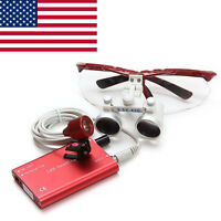 USA 3.5X 420mm LED Head Light Lamp+Dental Surgical Medical Binocular Loupes Red