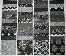 """40 black/gray 4""""x4""""fabric square 2 squares from 20 different fabric/quilt blocks"""