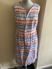 Joules Womens LISIA 100 Linen Dress - Red White Blue Multi Stripe Size 14