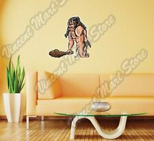 """Caveman With Wooden Club Stone Age Gift Wall Sticker Room Interior Decor 25""""X20"""""""