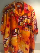 Hookano Men's Vintage Aloha Shirt Size 3XL Mint Made In Hawaii Orange Sunset