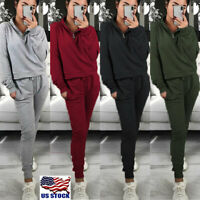 2Pcs Women Tracksuit Suit Tops Joggers Pants Ladies Casual Sport Lounge Wear US