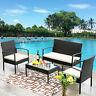 4PC Cushion Patio Table Bench Chair Set Garden Rattan Loveseat Sofa Furniture US