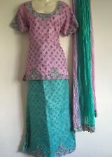 Vestido de boda de diseñador indio Lengha Lenga Choli Fancy Dress Costume Rosa (s)