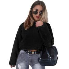 Women Winter Fluffy Crop Top Turtleneck Pullover Coat Warm Ladies Sweater Jumper