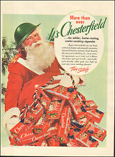 1942 Vintage ad for Chesterfield Cigarettes`WWII era Santa retro cartoon Photo