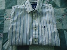 Men's Small White with Thin Brown & Blue Stripes Hollister Long Sleeve Shirt