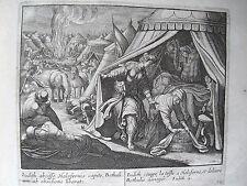 C21-1s Gravure religieuse 17e Judith coupe le trèfle à Holoferne (judith 9)