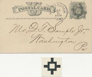 USA 1878 Liberty One Cent PTO postal stationery postcard FANCY CROSS PITTSBURGH