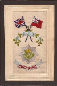 EMBROIDERED SILK POSTCARD-REGIMENTAL. Cheshire Regiment.