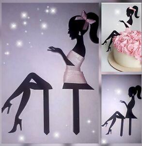 Elegant Lady silhouette girl, woman, fairy,black acrylic cake topper decoration