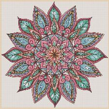 Colorful Mandala Counted Cross Stitch Chart No.6-420a