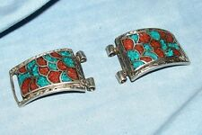 Turquoise Watch Band Tips Halves Ends Men's Coral Cuff for Expandable; Stretch