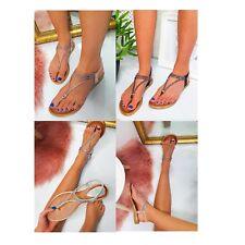 Womens Ladies Flat Low Wedge Heel Toe Post Diamante Summer Holiday Sandals Shoes
