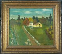 Antique Folk Art Oil Painting of a New England Farm by Unknown Artist