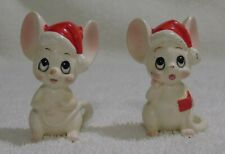 2 Vtg Lefton Christmas Mice Mouse Figurines Tiny With Original Red Labels Japan