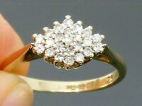 9ct Gold 0.25ct Diamond Hallmarked Cluster Engagement Ring size L