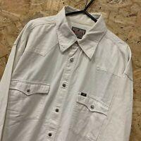 Mustang Mens Vintage DENIM Shirt L Long Sleeve White Regular Fit Cotton