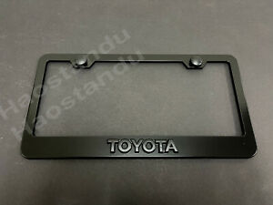 1xBlackoutToyota 3D Emblem Badge BLACK Stainless License Plate Frame RUST FREE*M
