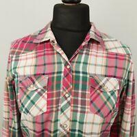 Tommy Hilfiger Womens Shirt WESTERN Snap LARGE Long Sleeve Pink Regular Check