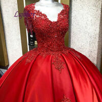 Red Quinceanera Dresses Ball Gown  Plus Size Puffy Beaded Sweet 16 Prom Dress