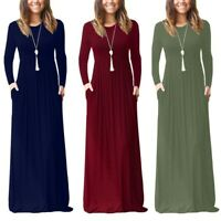 Women's Autumn Winter Casual Dress Round Neck Long Sleeve Solid Tank Long Dress