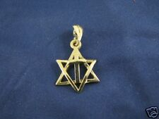 14K Gold Messianic Star of David and Cross Pendant New Unisex Solid