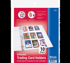 TRADING CARD HOLDERS  9 POCKETS  RINGED 5 packs  ARCHIVAL QUALITY TOP LOAD